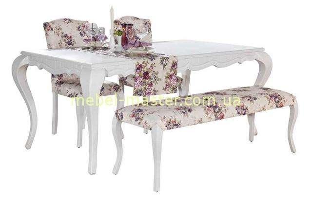Классический белый обеденный стол со стульями и лавкой Ибица