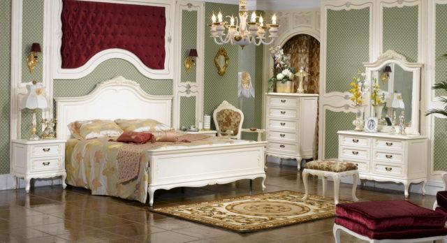 Белая классическая мебель для спальни Элизабет из натурального дерева