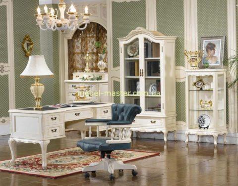 Белый кабинет из массива натурального дерева Элизабет