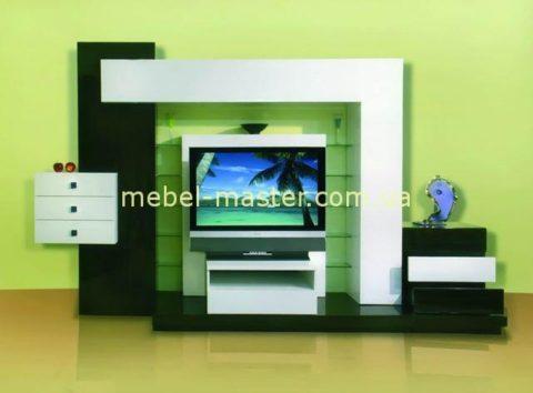 Модная черно-белая стенка в гостиную комнату Зебрано в стиле модерн.
