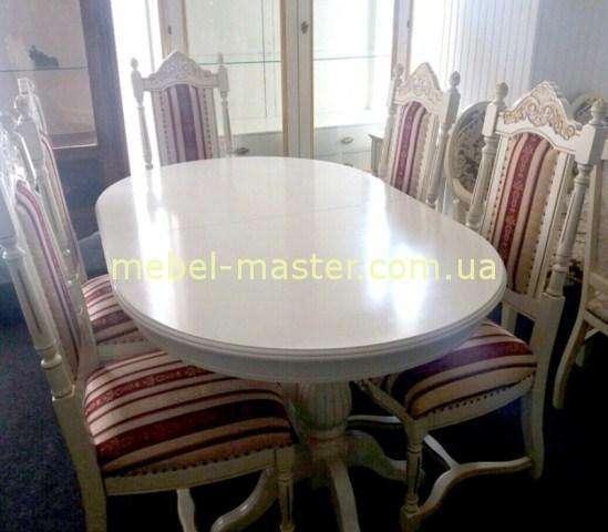 Белый раскладной обеденный стол Селена.