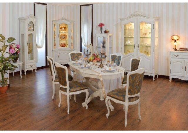 Классический белый обеденный стол со стульями Могадор