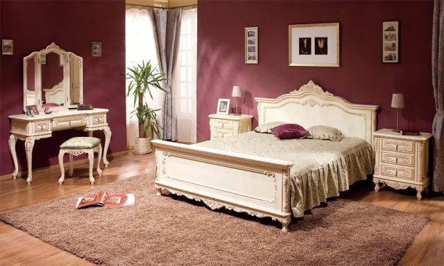 Дорогая белая Классическая спальня Клеопатра из массива натурального дерева Румыния.