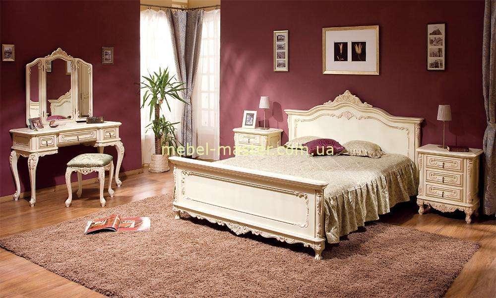 Белая Классическая спальня Клеопатра из массива натурального дерева Румыния.