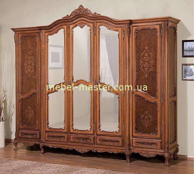 Пятидверный коричневый шкаф Клеопатра. Симекс.