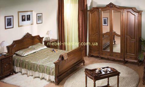 Красивая резная кровать с твердым изголовьем Роял. Симекс.