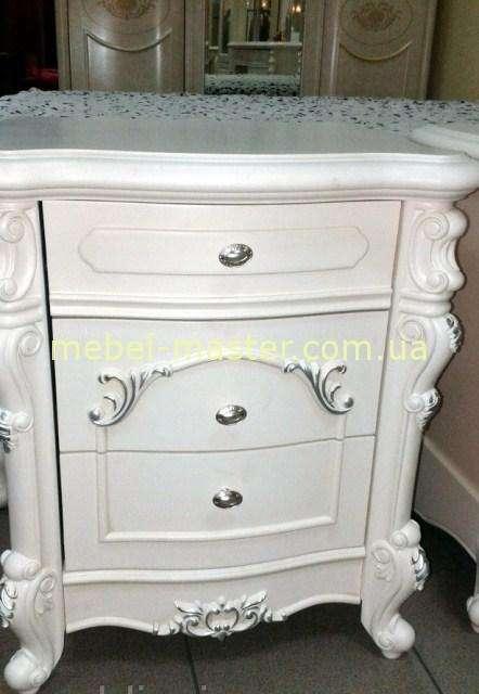 Белая прикроватная тумбочка для спальни Лукреция 8673