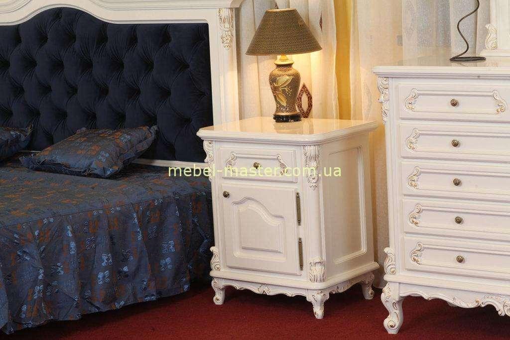 Белая прикроватная тумба в мебельный гарнитур Регал
