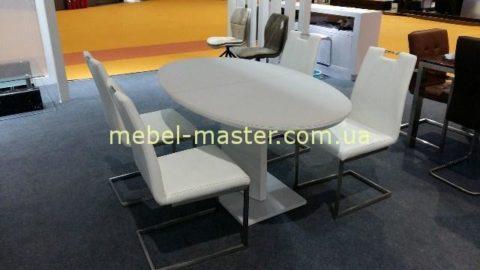 Белый стол обеденный ТОМ- 2 из МДФ и стекла