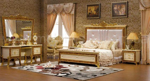 Классическая мебель для спальни в золоте Луи