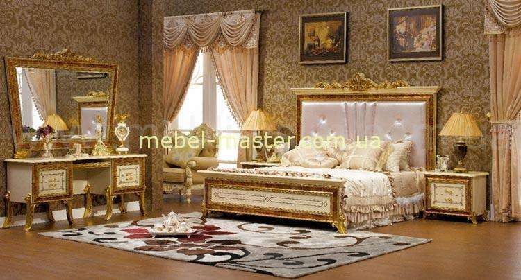Кровать с прямым изголовьем в золоте Луи