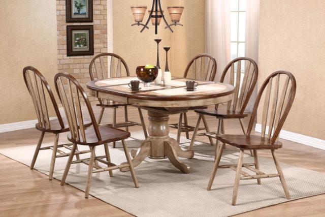 Недорогой круглый раскладной стол в стиле Кантри T-15347 LETITIUD
