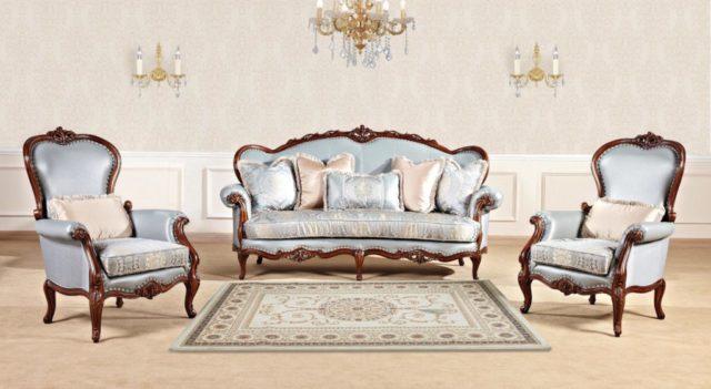 Недорогой комплект мягкой мебели в голубой обивке Горацио