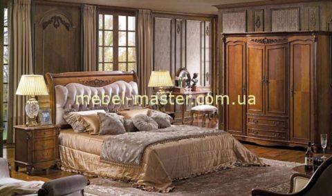 Дорогая классическая кровать 1800 в цвете орех для спальни Карпентер 230