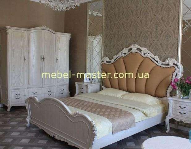 Кровать белая с фигурным изголовьем Карпентер 238