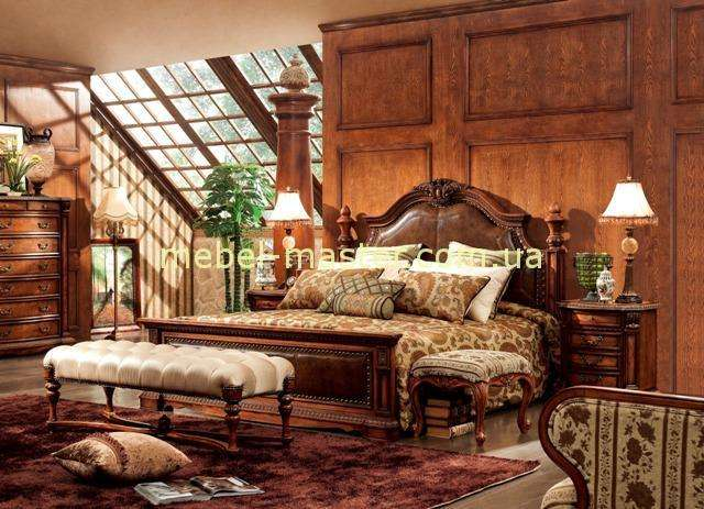 Коричневая мебель для спальни Карпентер 238 в стиле Кантри.