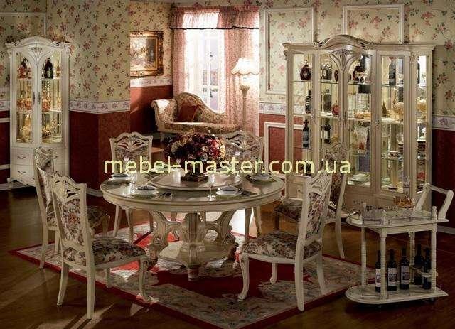 Дорогой белый мебельный гарнитур в столовую Карпентер 108