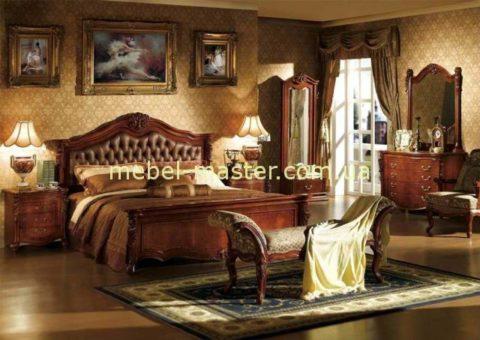 Дорогая красивая резная кровать 1800 с кожаным изголовьем Карпентер 220 со скидкой