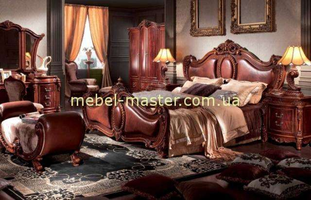 Кровать с кожаным резным изголовьем Карпентер 228, Испания
