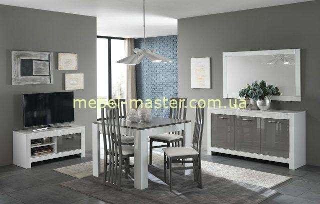 Бело-серая модульная система для гостиной комнаты Модена