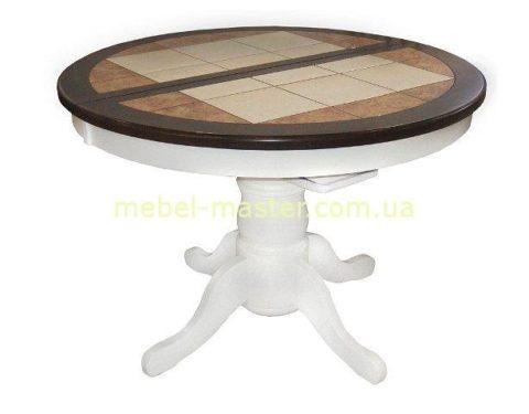 Стол обеденный белый круглый в стиле прованс.