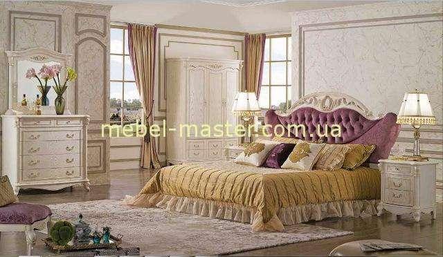 Белая классическая спальня с резным изголовьем Карпентер 230, Испания