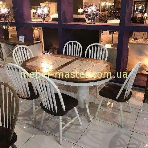 Недорогой стол обеденный с керамической плиткой на столешкице