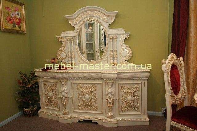 Элитный белый резной буфет с зеркалом в гостиную Флорента.