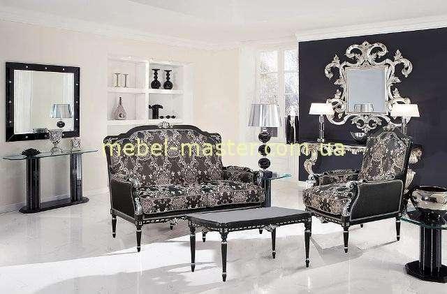 Элитный черный диван двухместный с крелом Беатриче