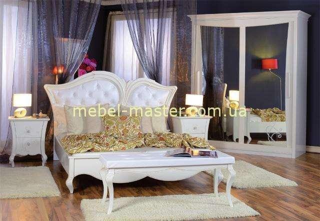 Белая классическая кровать Капри с мягким изголовьем, Румыния