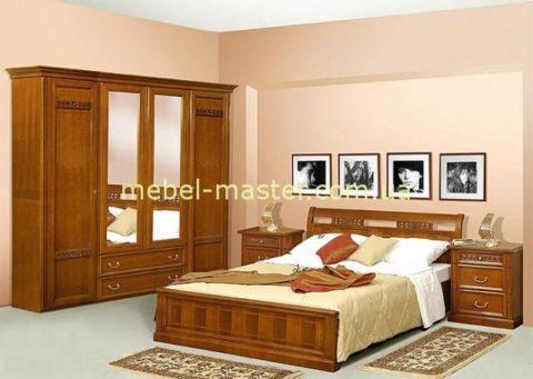 Недорогая деревянная румынская кровать Романтик Люкс с прямым изголовьем, Мобекс