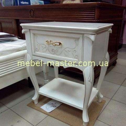 Белая прикроватная тумбочка в мебельный гарнитур Матео.