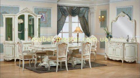 Белый классический комплект элитной недорогой мебели в гостиную Ирма.