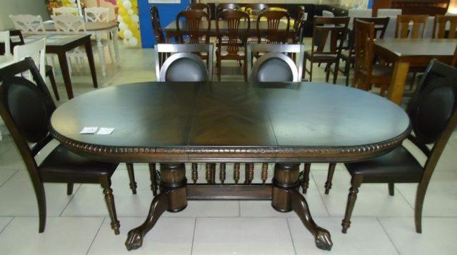 Недорогой обеденный стол из каучукового дерева в цвете орех HNDT-4296 SWC