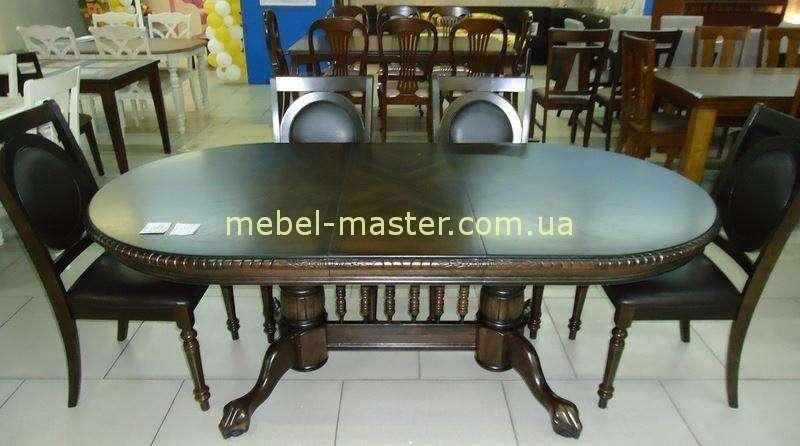 Обеденный стол из каучукового дерева в цвете орех HNDT-4296 SWC
