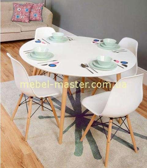 Белый круглый обеденный стол от Евродома