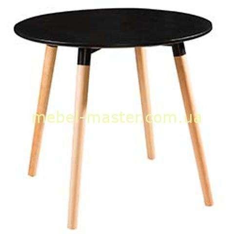 Черный круглый обеденный стол