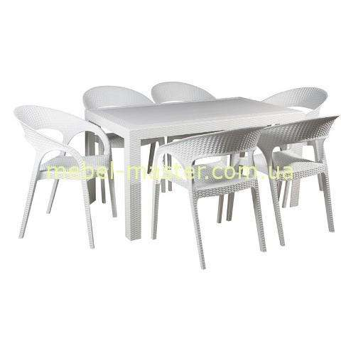 Белый обеденный стол из ротанга. Евродом