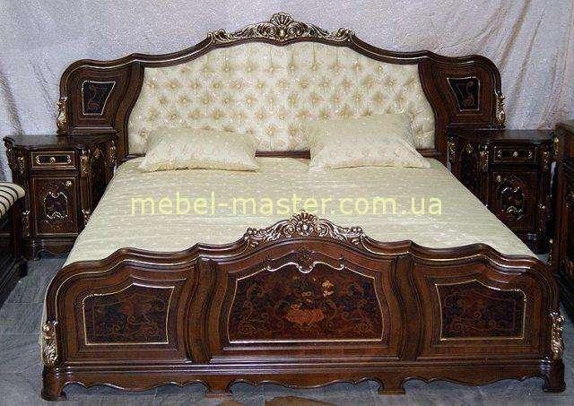 Большая резная кровать Юлианна с мягким изголовьем, Мобекс