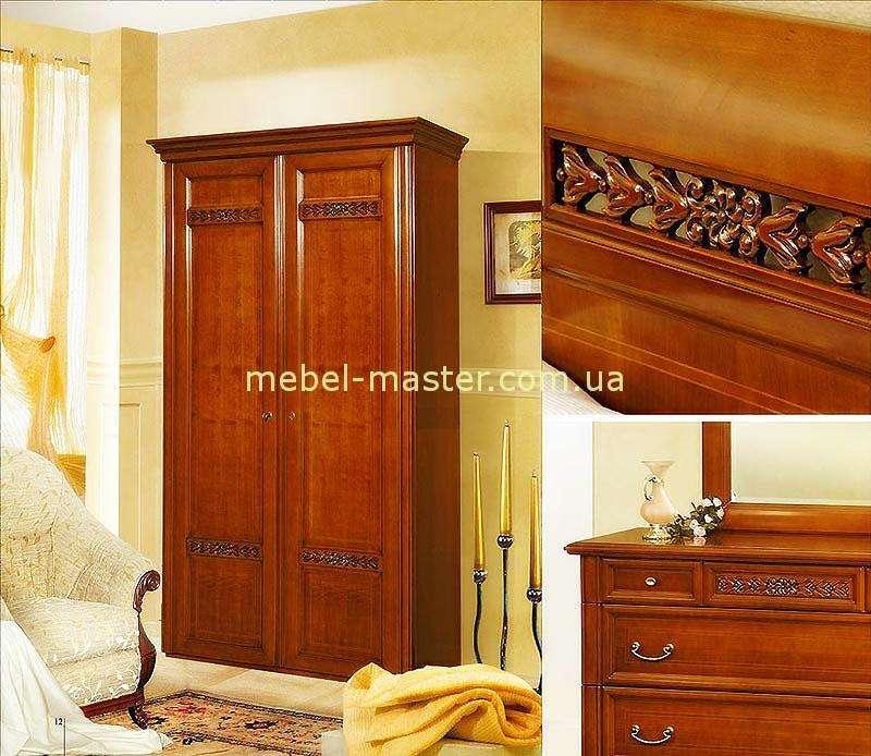 Двухдверный резной шкаф в спальню Романтик Люкс, Мобекс