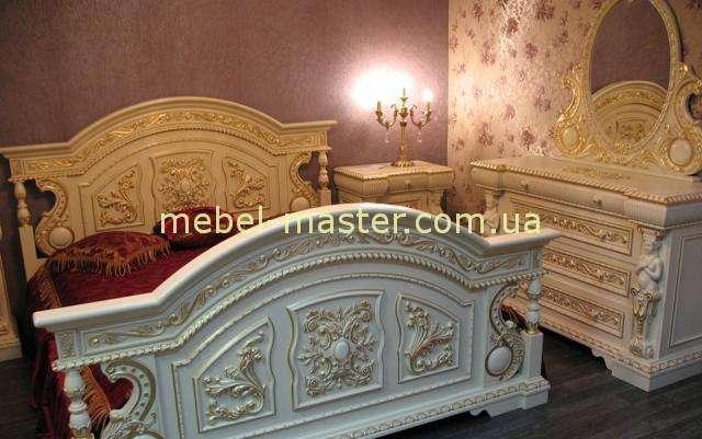 Элитная белая резная деревянная кровать Флорента