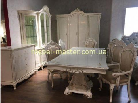Классический раскладной белый обеденный стол в классическую столовую Ирма