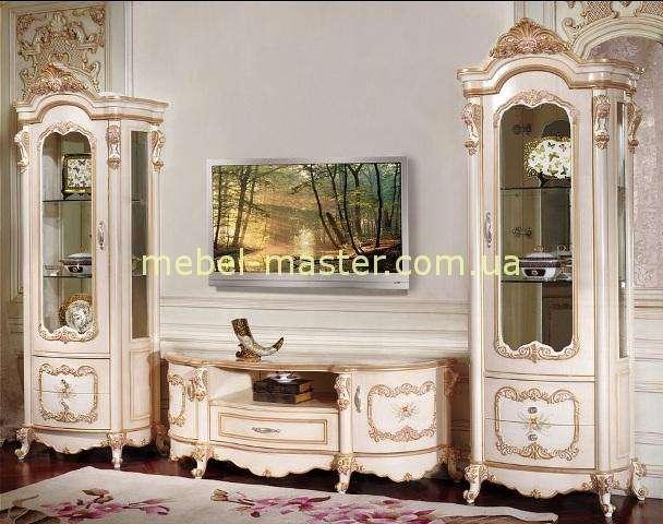 Классические белые однодверные витрины с ТВ тумбой Лайма, Аванти