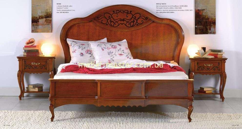 Ореховая кровать Матео с деревянным изголовьем. Фабрика Мобекс