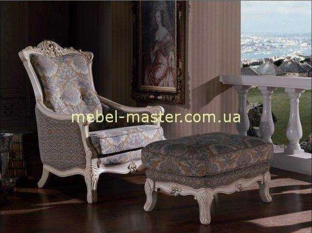 Кресло с пуфом Карпентер 208 белый
