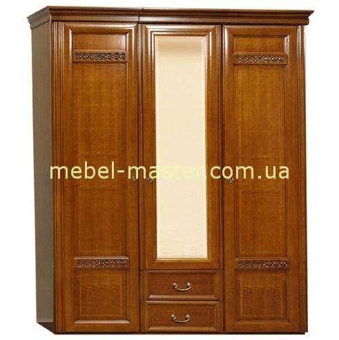 Трехдверный шкаф с зеркалом из массива бука Романтик Люкс