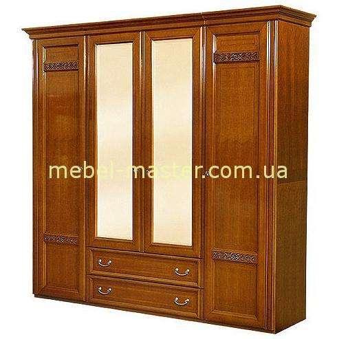 Ореховый четырехдверный шкаф с двумя центральными зеркалами Романтик Люкс
