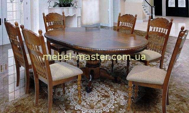 Круглый обеденный стол в цвете орех. Китай