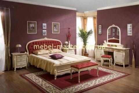 Румынская белая резная кровать с круглым изголовьем Аркад, Симекс