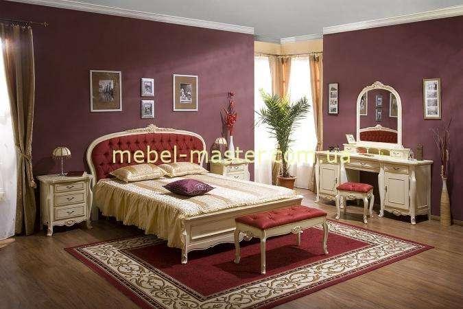 Белая резная кровать с круглым изголовьем Аркад, Симекс